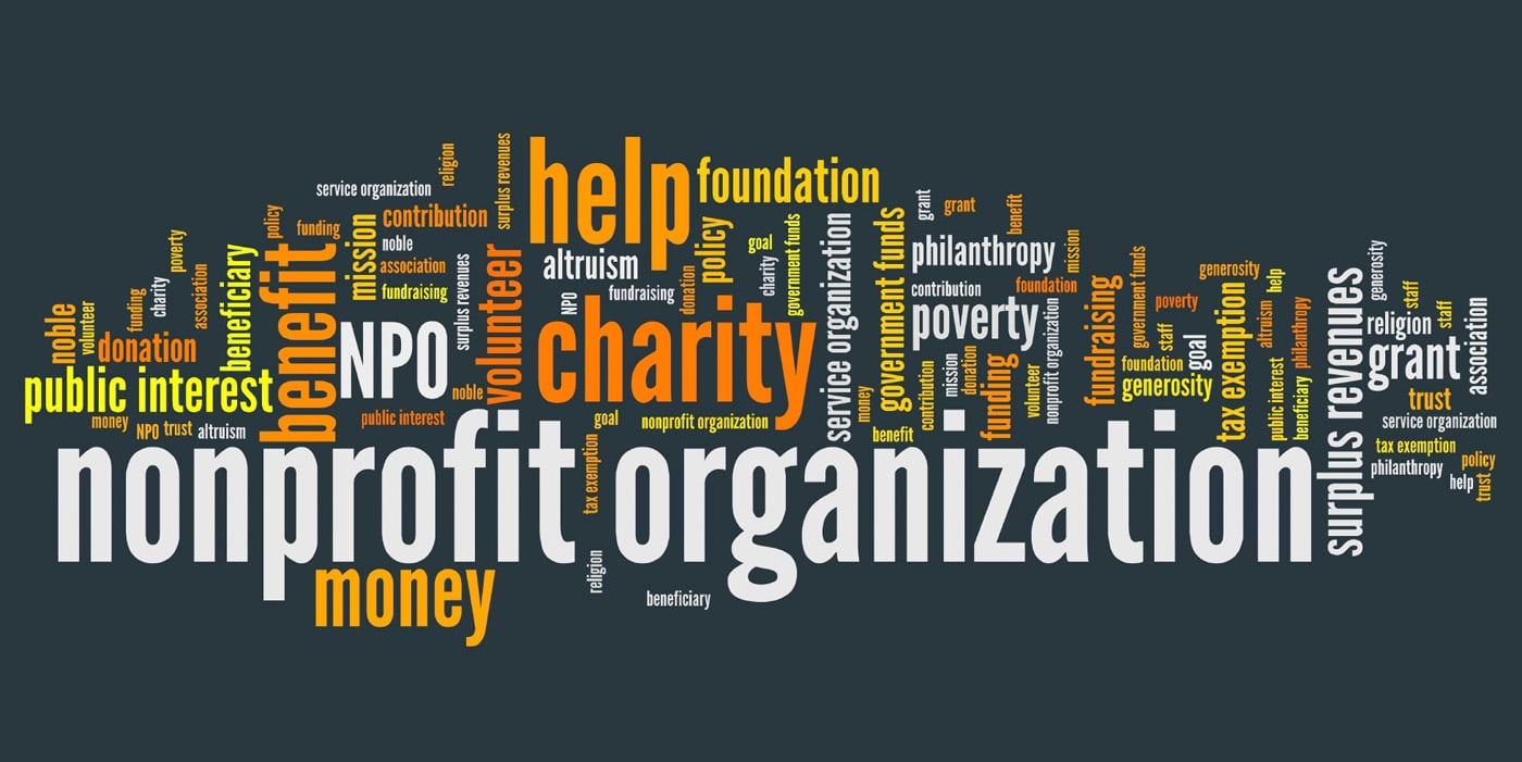 Word cloud image of the word nonprofit organization