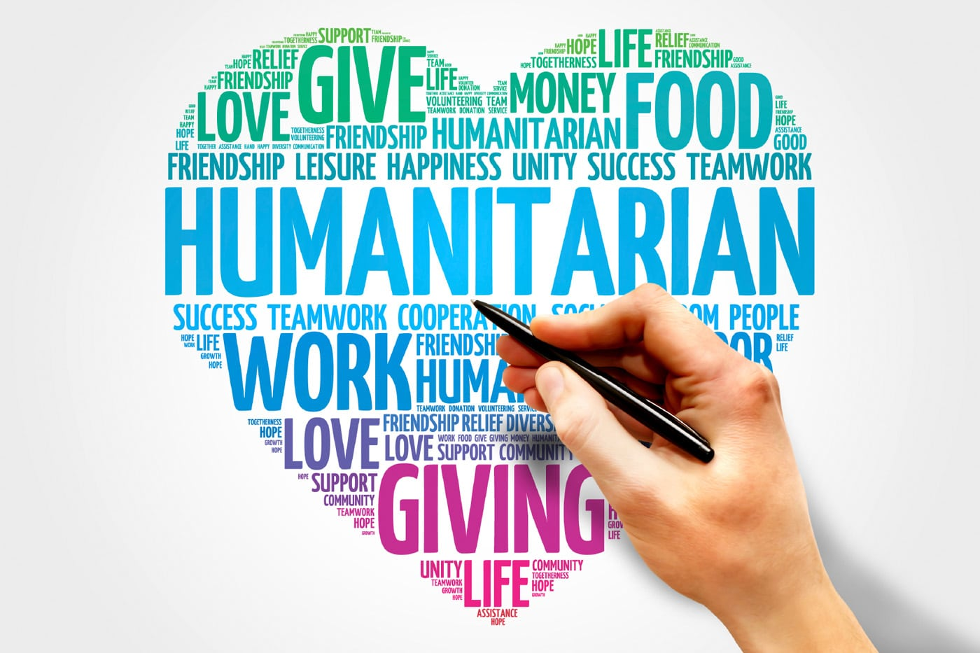 Heart shaped word cloud of the word humanitarian
