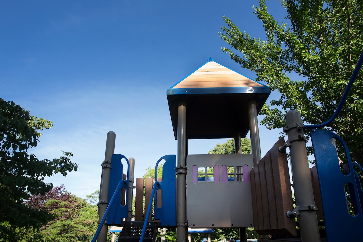 Playground surrounded by trees