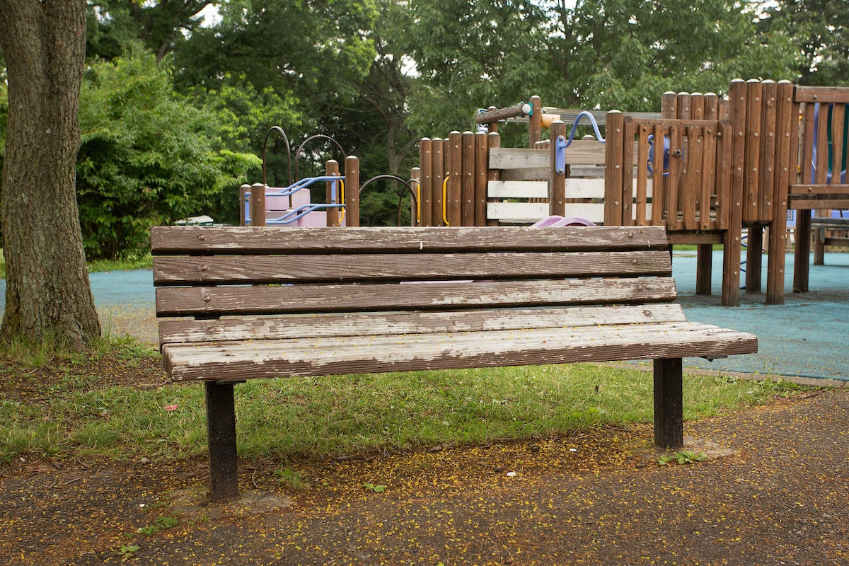 An image of a wooden park bench