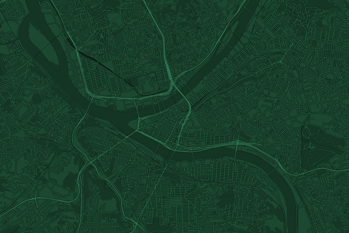 Green map of Pittsburgh