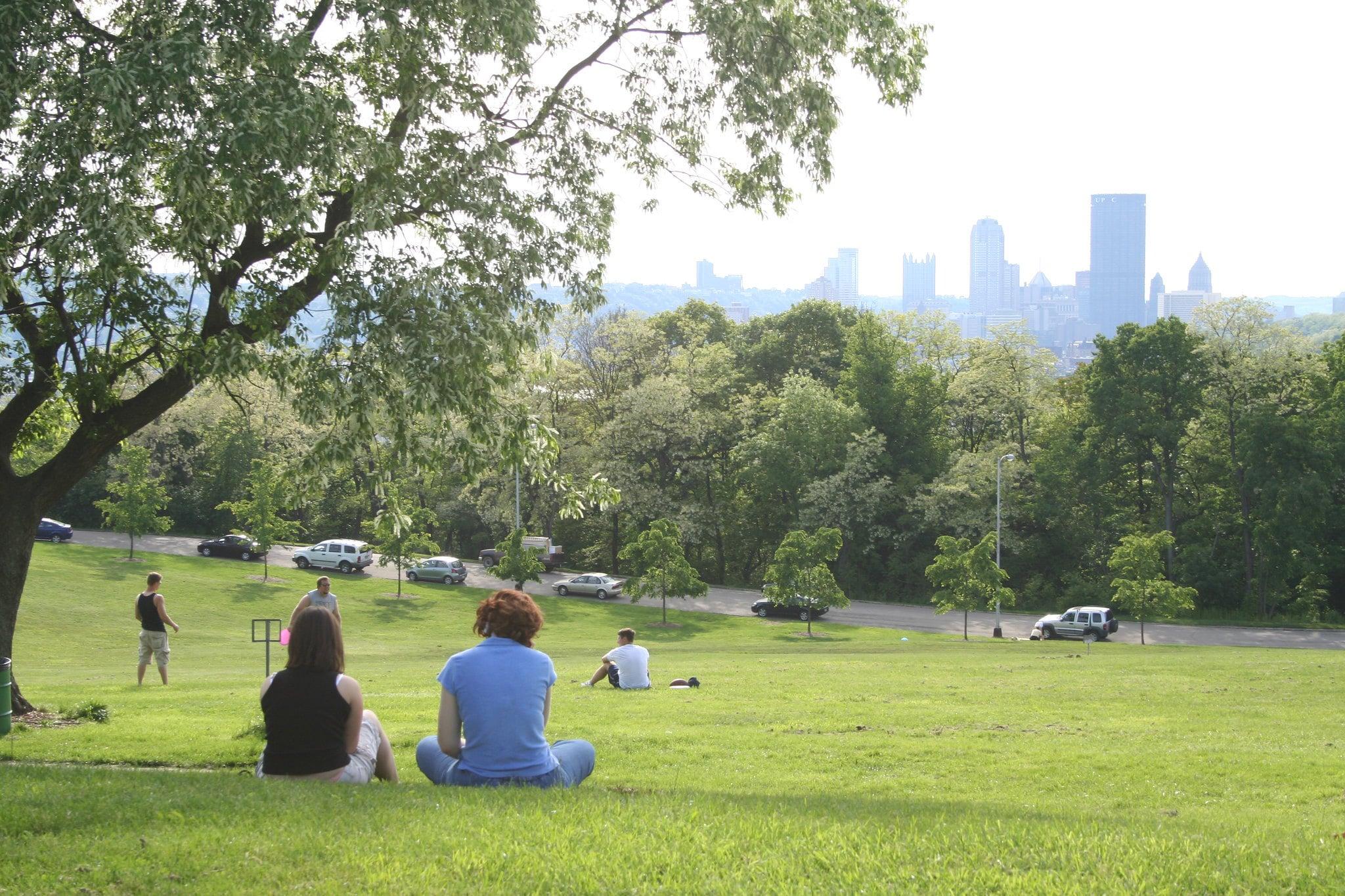 People sitting in a field in Schenley Park
