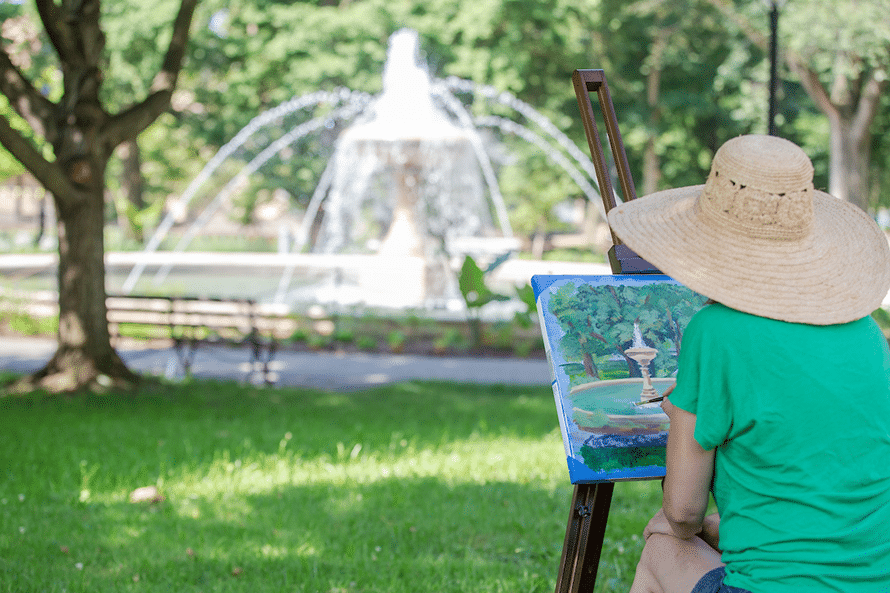 Woman painting Allegheny Commons Park fountain