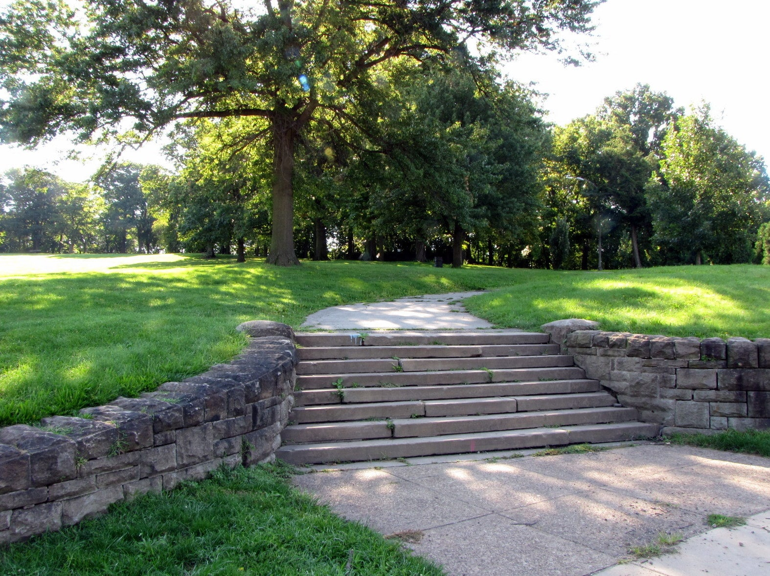 Steps up to a path in Schenley Park