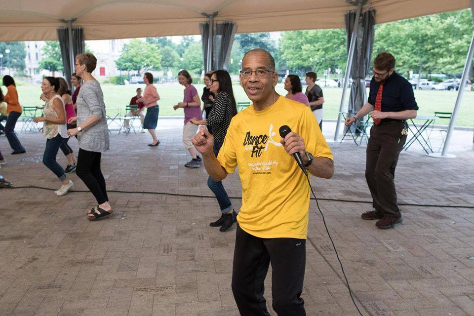 Image of people participating in the Dance and Be Fit program at Schenley Plaza
