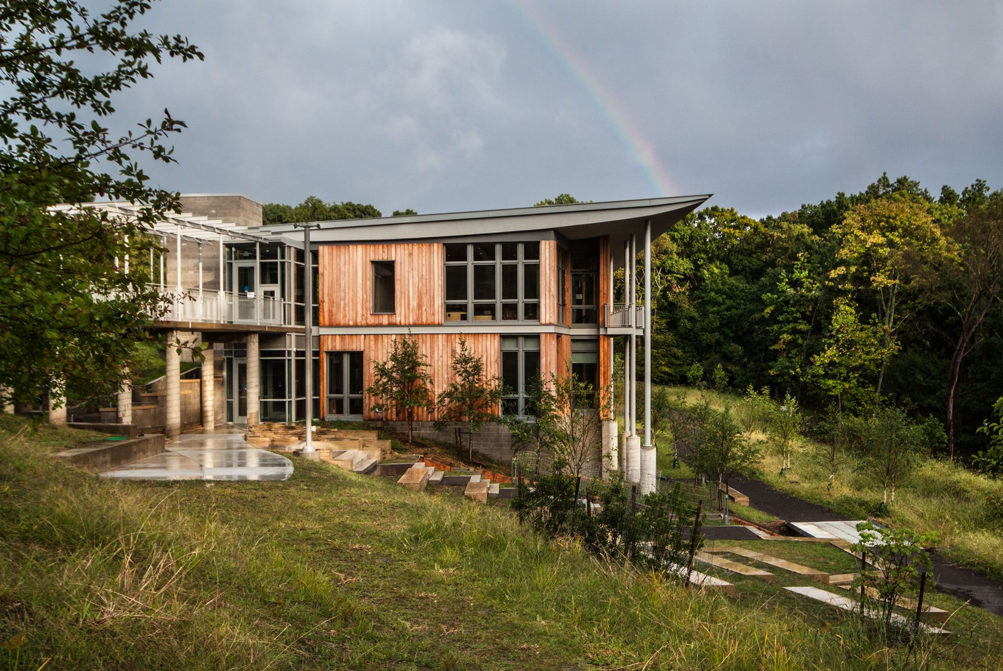 Rainbow in the sky at Frick Environmental Center