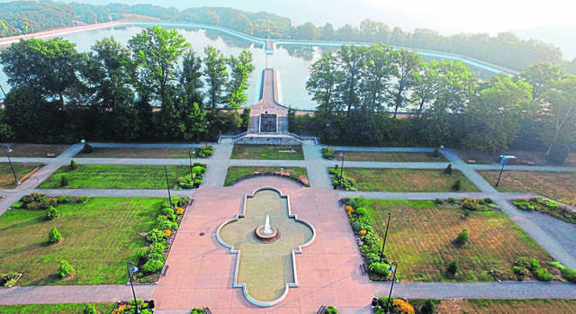 Aerial view of Highland Park fountain and reservoir