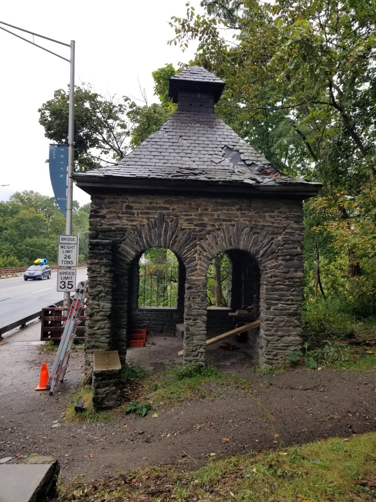 Side view of Forbes Avenue Gatehouse at Frick Park