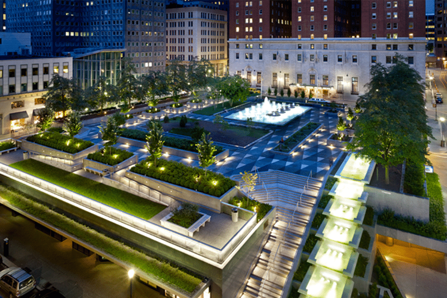 Photo overlooking fountains at night