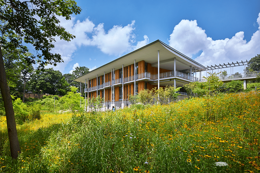 Frick Environmental Center surrounded by field