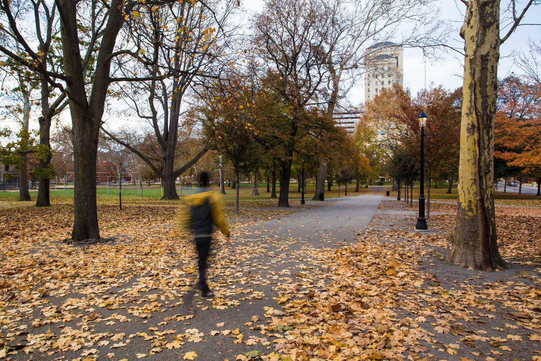 Blurry image of a person walking in Allegheny Commons during autumn
