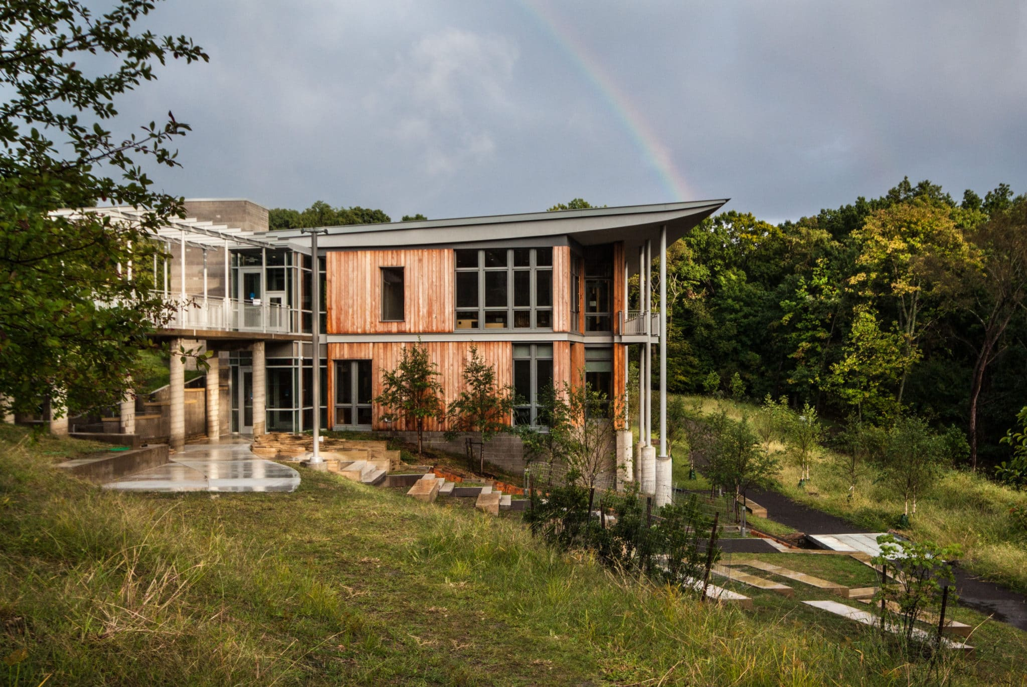 Frick Environmental Center with a rainbow behind it