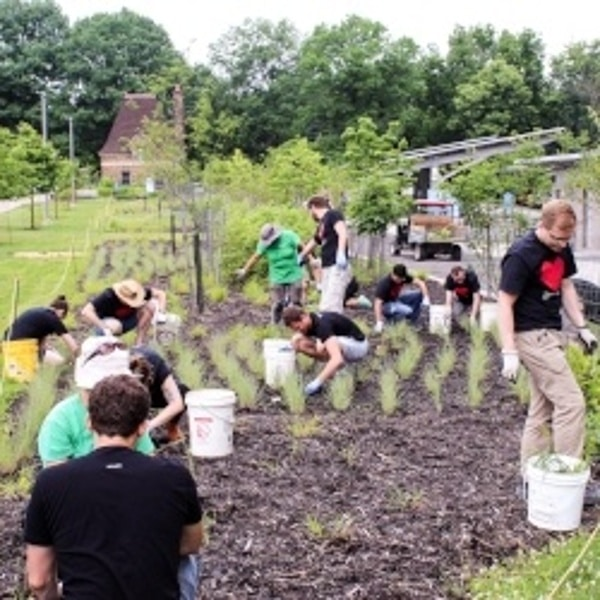 Volunteers gardening at Frick Park