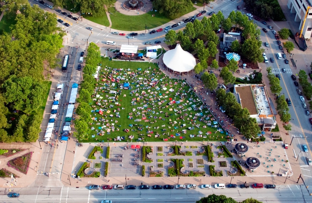 Aerial image of Schenley Plaza from above in the summer