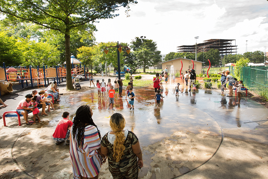 People playing in Mellon Park's spray park
