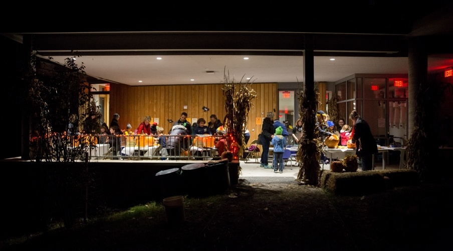 An image of the Frick Environmental Center during the Bump In The Night event.
