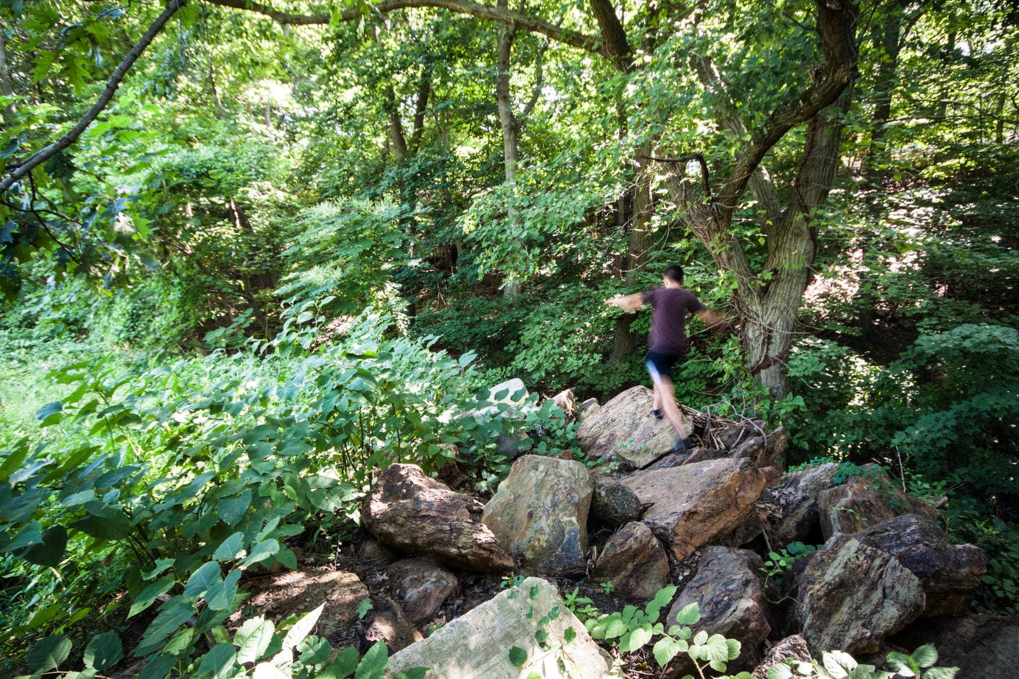 An image of a young man hiking on Heths Run rocks.