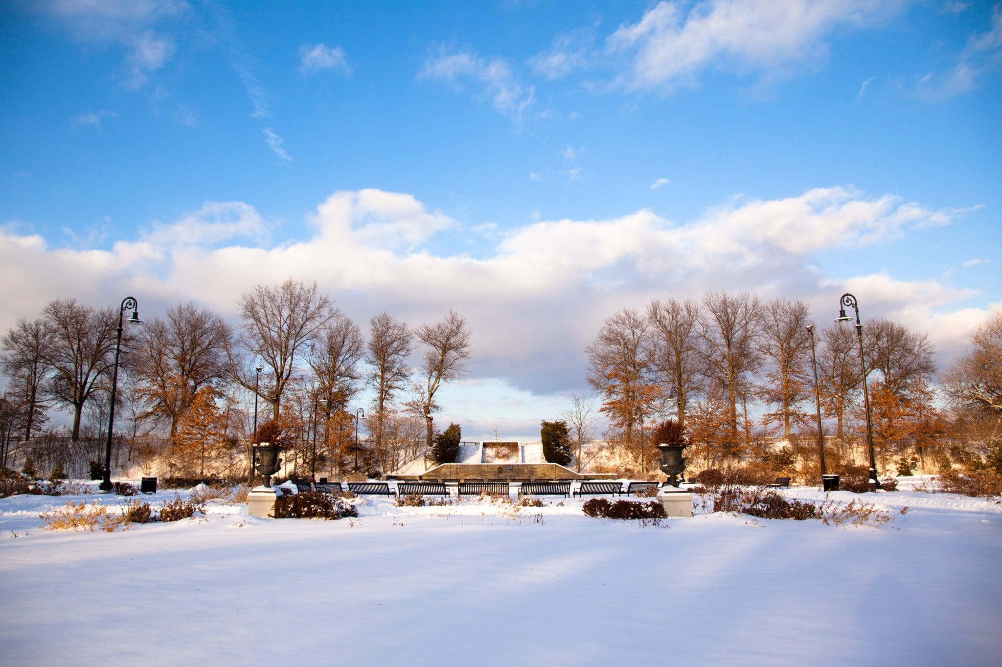 An image of Highland Park covered in snow.