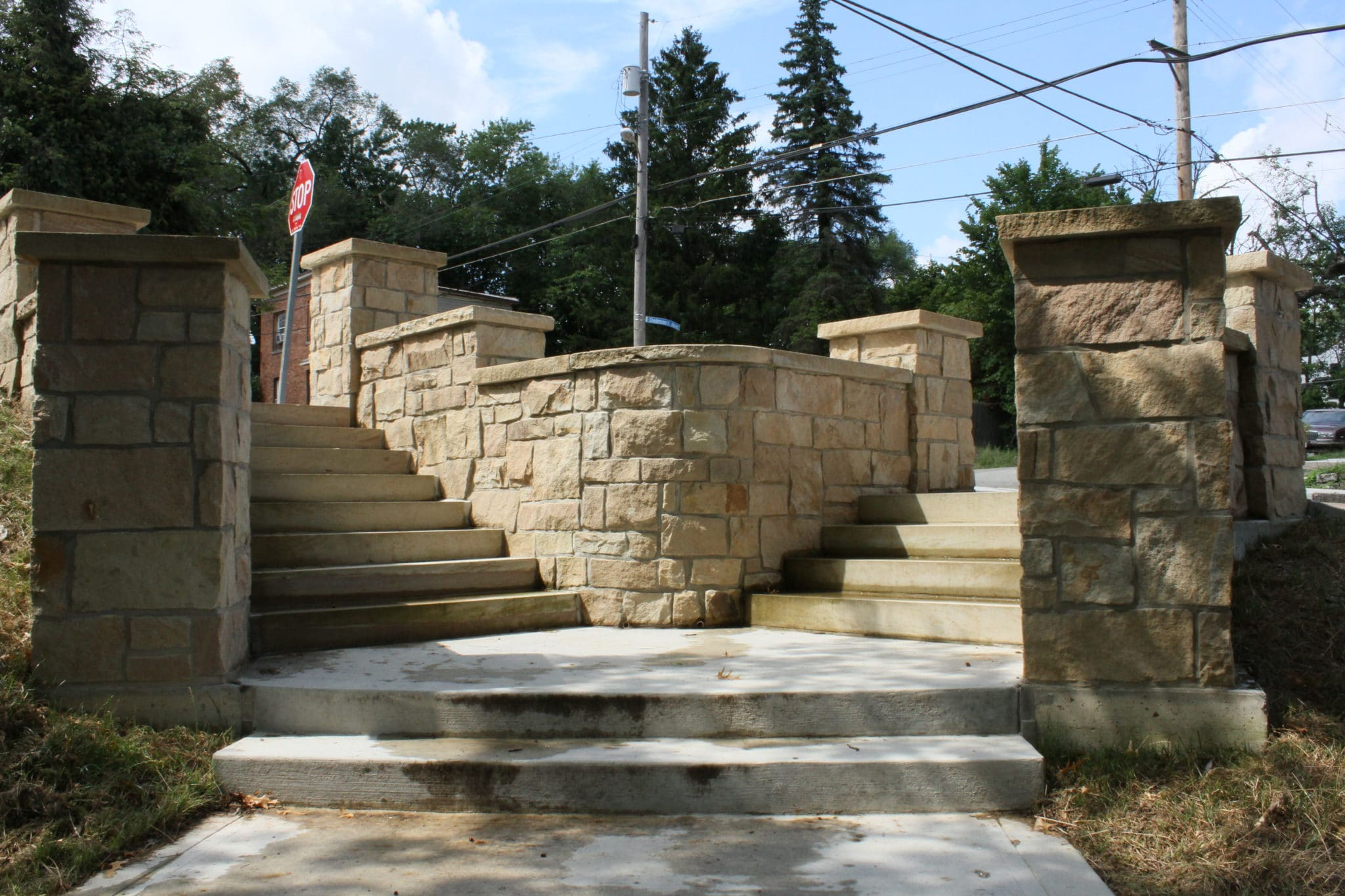 Concrete steps and stones at McKinley Park