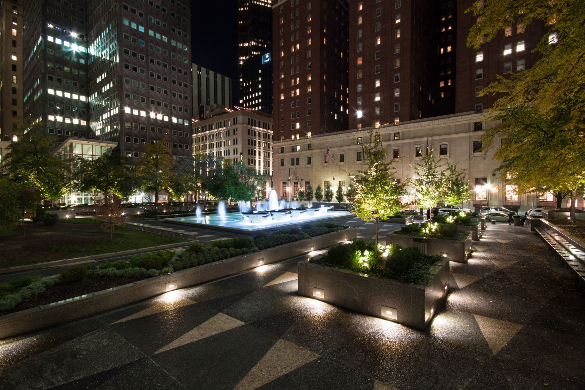 Mellon Square Park fountains at night