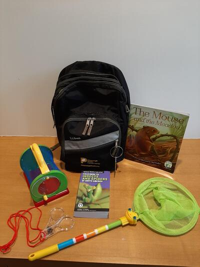 Image containing a backpack with supplies for exploring a meadow