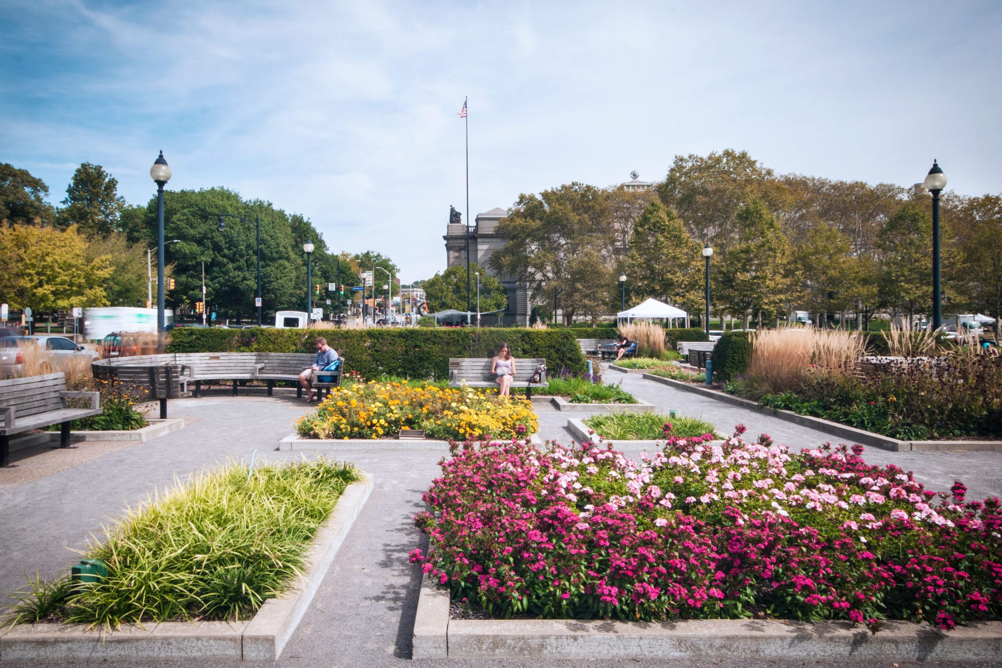 Schenley Plaza Flower Beds in the Summer