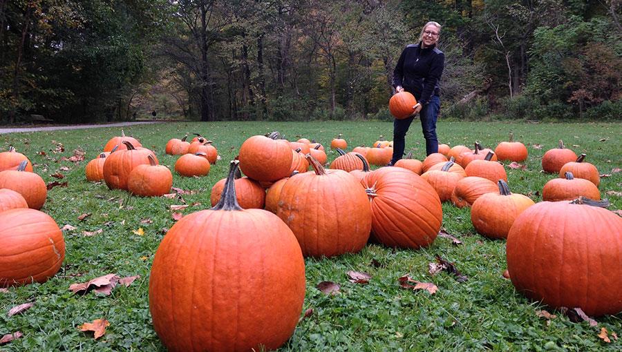 An image of an attendee holding a pumpkin.