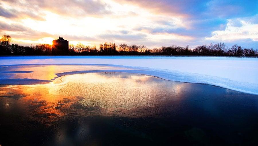 Highland Park reservoir at sunset
