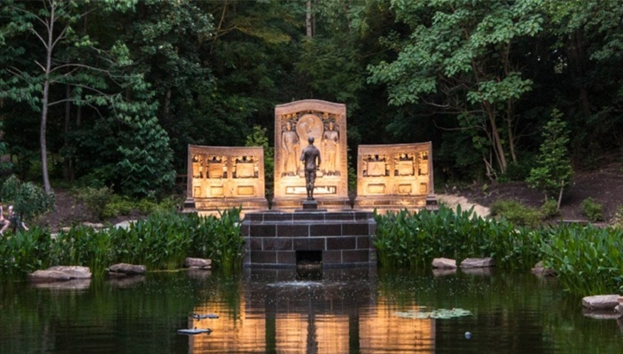 An image of the Westinghouse Memorial from the front at night.