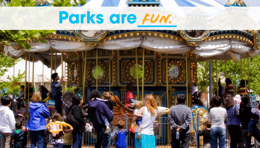 """A photo of the carousel in the Plaza with the caption """"Parks are Fun"""""""