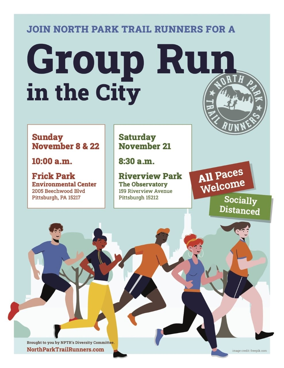 Flyer for North Park Trail Runners' Group Run in the City