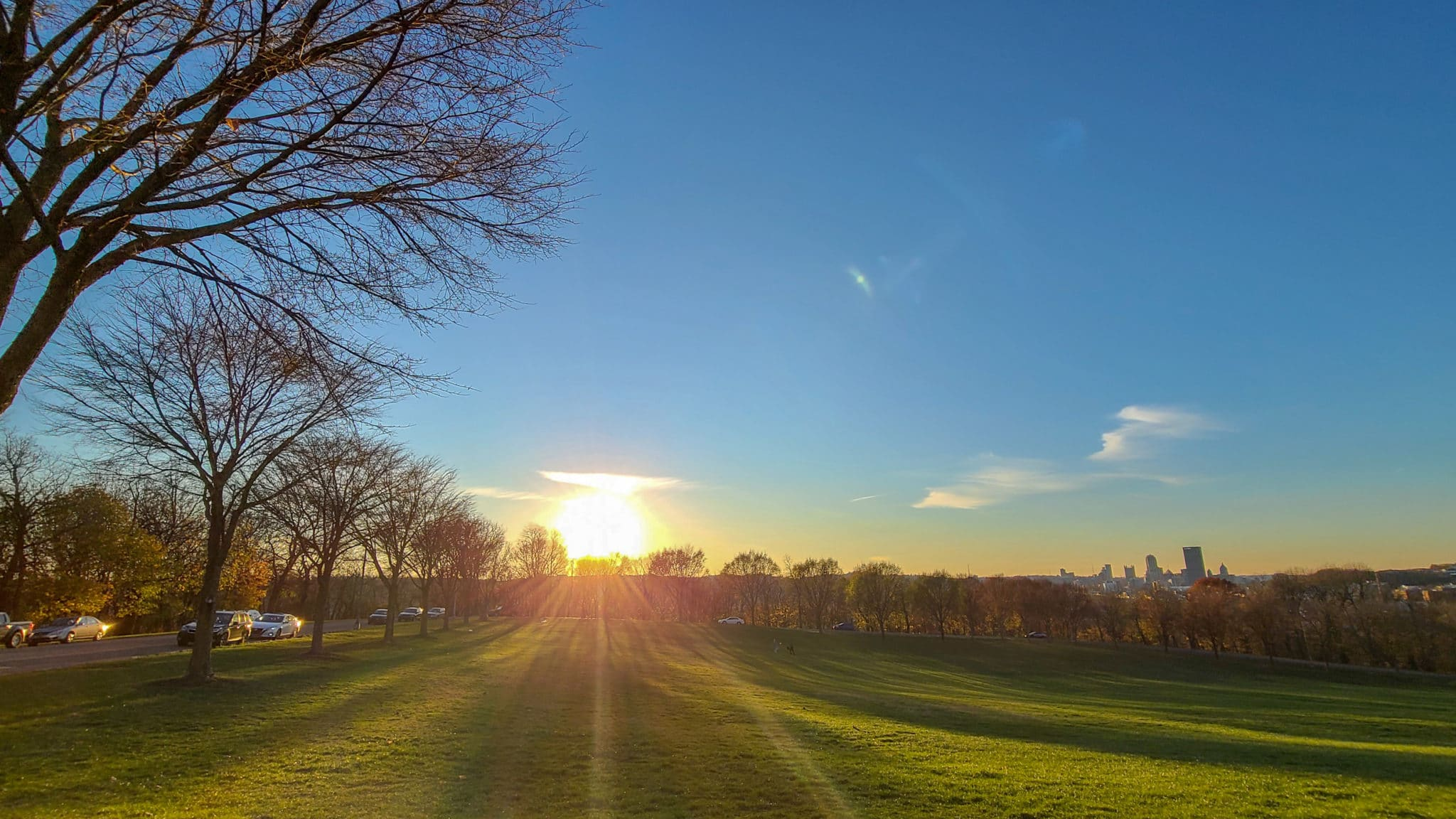 Image of Schenley Park with the sun setting behind it