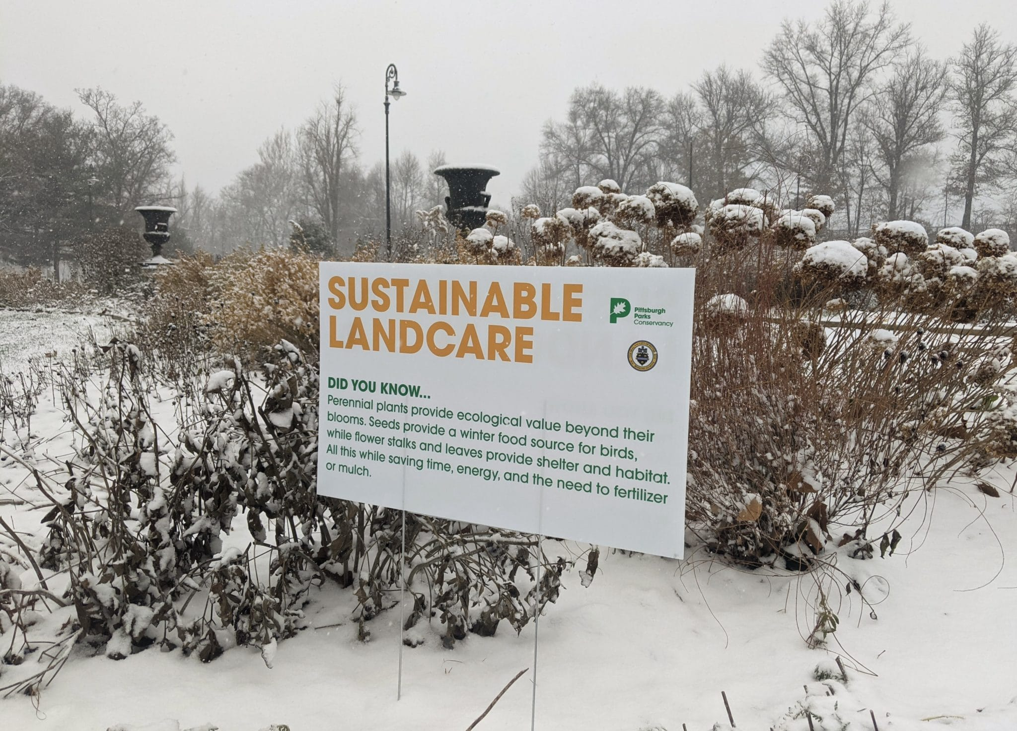 Sign describing sustainable landcare at Highland Park Entry Garden