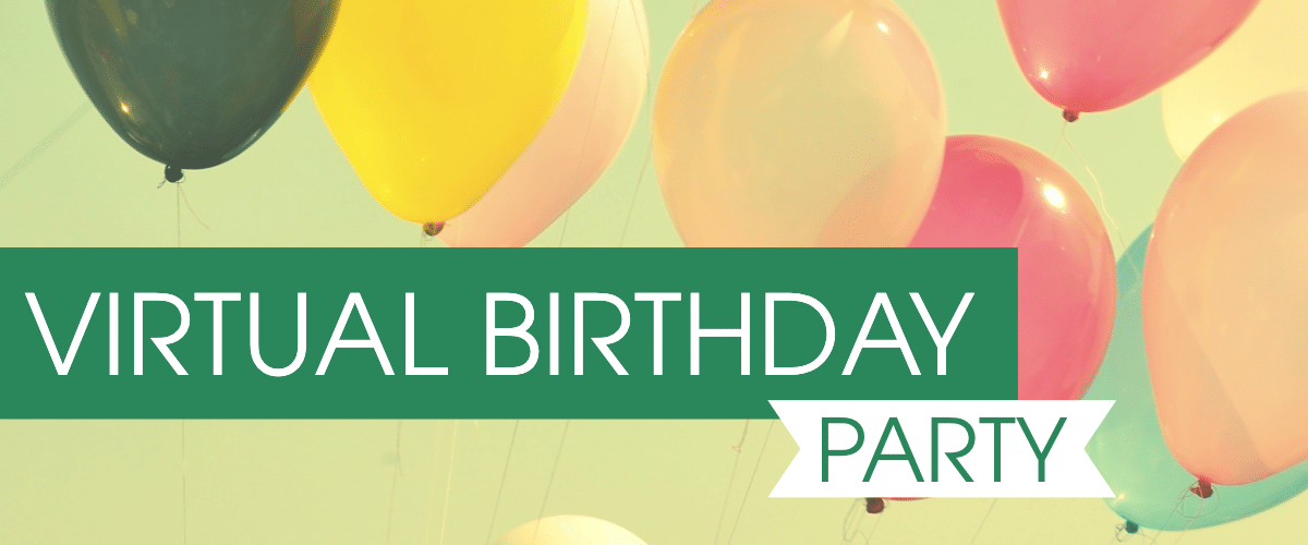 """Banner image which states """"Virtual Birthday Party"""""""