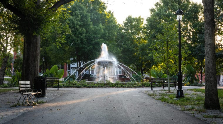 An image of the fountain at Allegheny Commons.