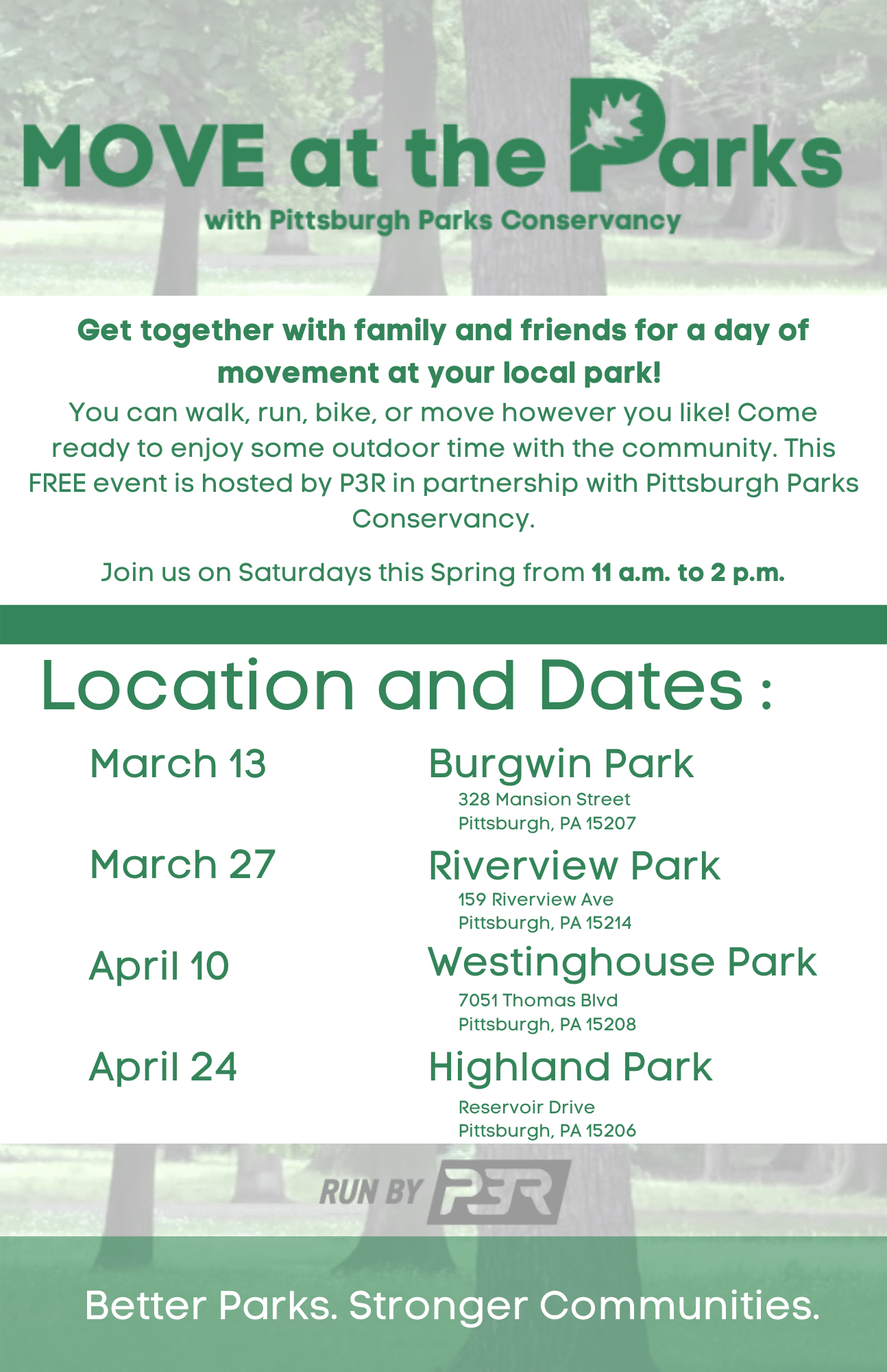 Move at the Parks Event Dates