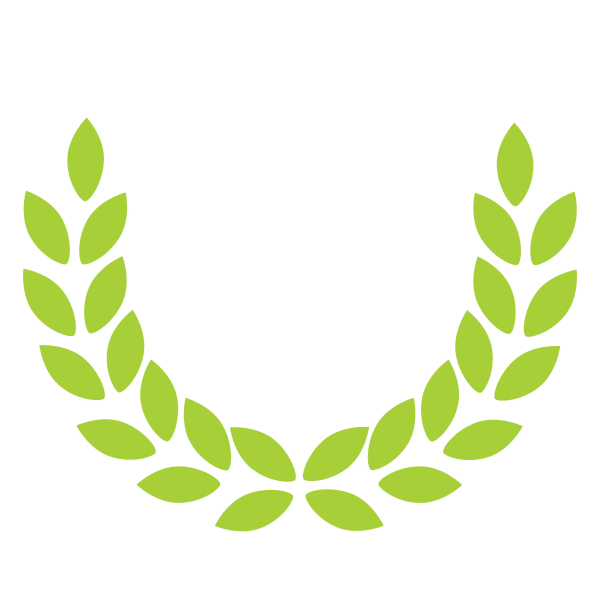 A wreath of green leaves
