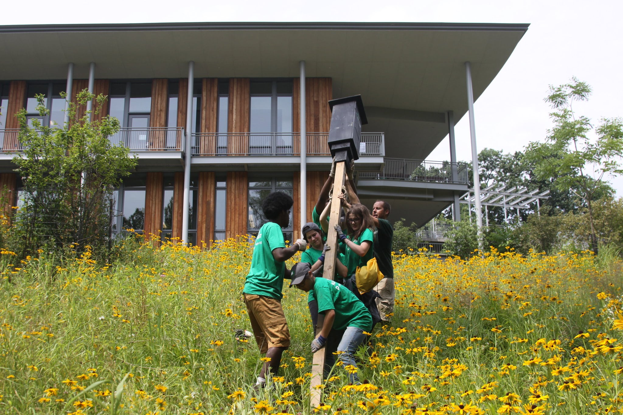 Pittsburgh Parks Conservancy staff moving a birdhouse