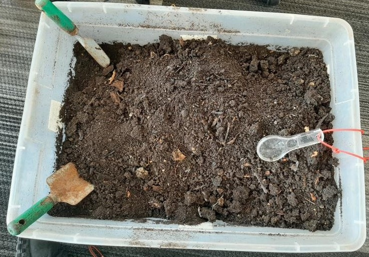 A bin of dirt with shovels and a magnifying glass