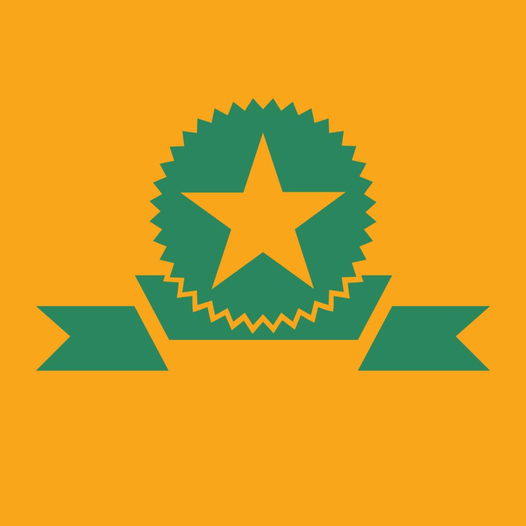 Green ribbon displaying a gold star