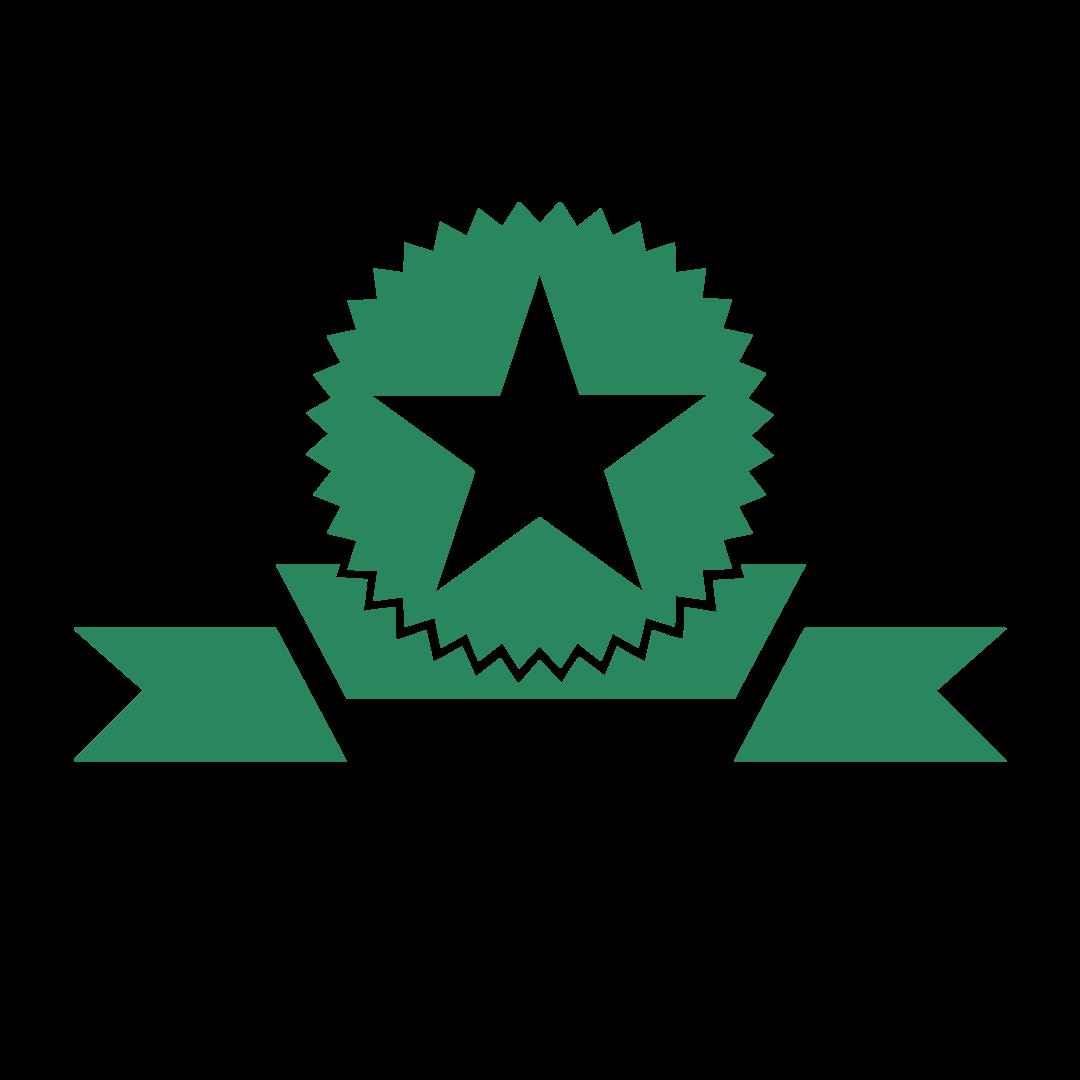 A green ribbon displaying a star
