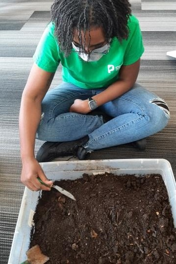 Image of person exploring a box of dirt