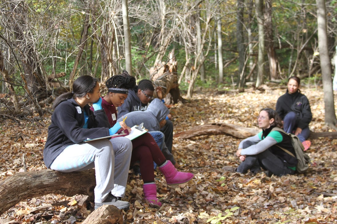 Students writing on clipboards in the forest