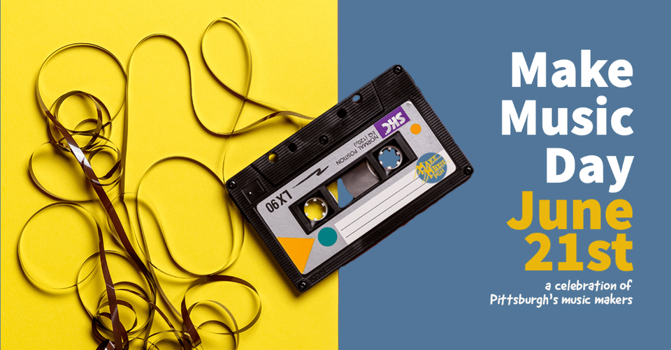 Make Music Day banner with cassette tape
