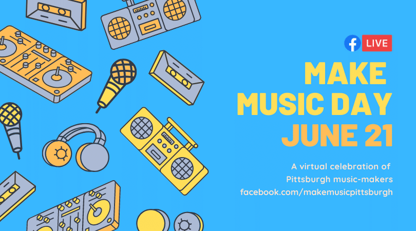 Make Music Day banner with cartoon radios