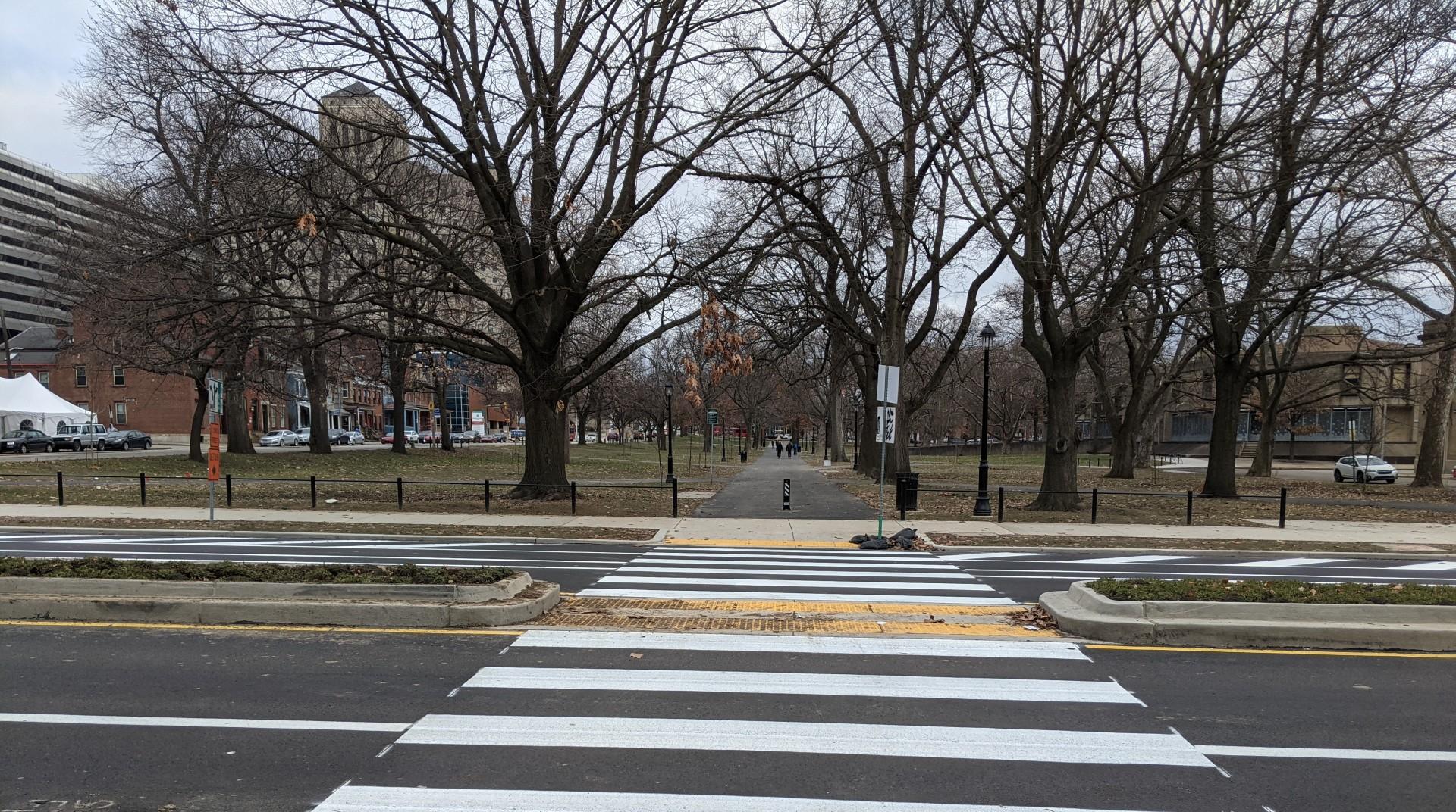 A pedestrian crosswalk in Allegheny Commons Park.